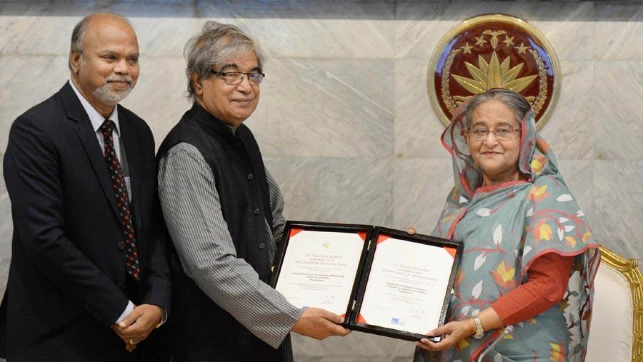 দু'টি 'আইটিইউ টেলিকম ওয়ার্ল্ড' পুরস্কার গ্রহণ করলেন প্রধানমন্ত্রী
