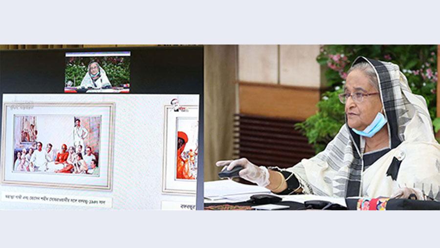 বঙ্গবন্ধুকে নিয়ে আয়োজিত প্রদর্শনী উদ্বোধন করেছেন প্রধানমন্ত্রী